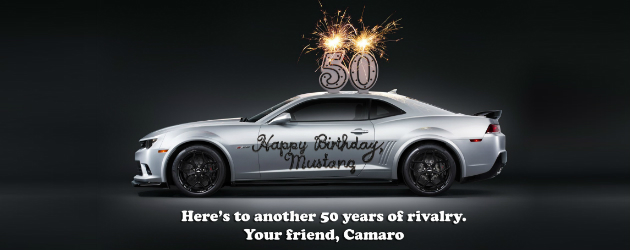 Camaro greets Mustang with its 50th Anniversary